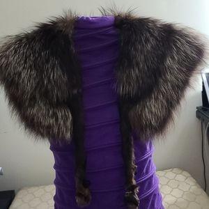 Brown Fox Fur Collar ,Real Fox Fur, Neckwearing, F